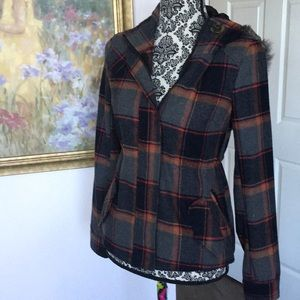 Plaid Coat w hood